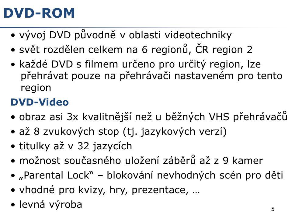 DVD-ROM vývoj DVD původně v oblasti videotechniky