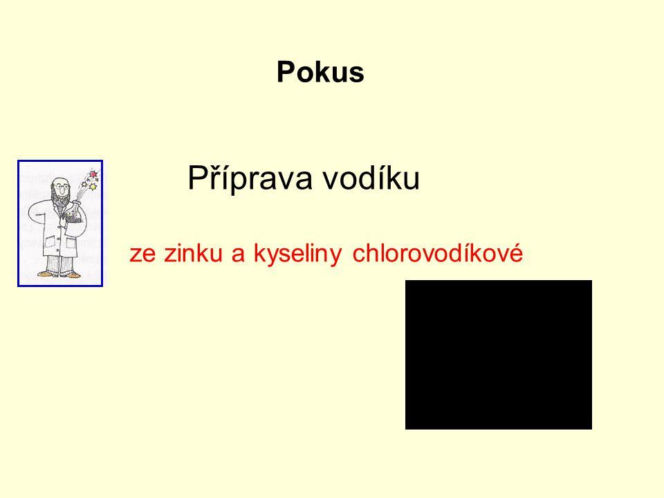 Pokus Příprava vodíku ze zinku a kyseliny chlorovodíkové