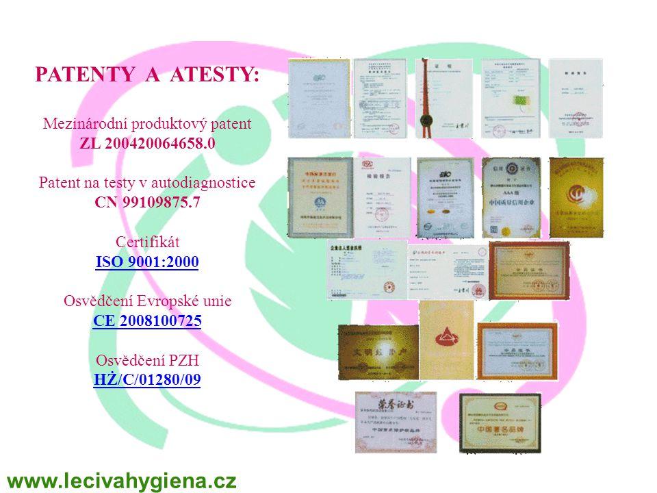 PATENTY A ATESTY: www.lecivahygiena.cz