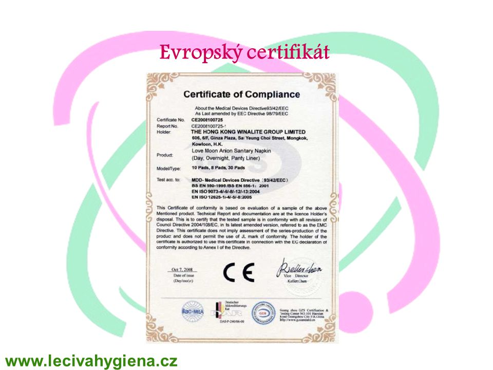 WINALITE Polska Evropský certifikát www.lecivahygiena.cz