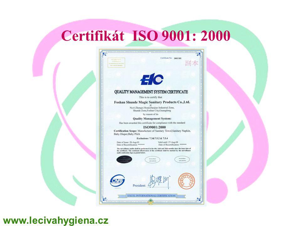 WINALITE Polska Certifikát ISO 9001: 2000 www.lecivahygiena.cz