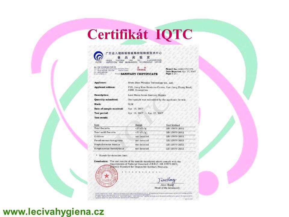 WINALITE Polska Certifikát IQTC www.lecivahygiena.cz