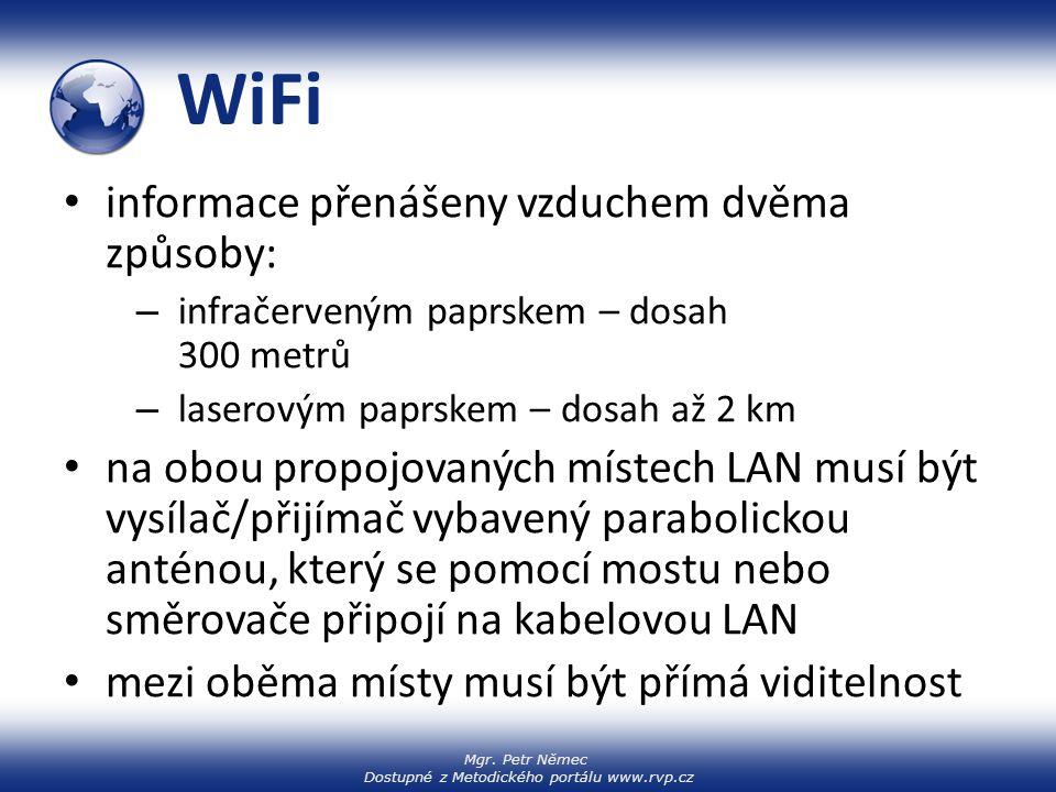 WiFi informace přenášeny vzduchem dvěma způsoby: