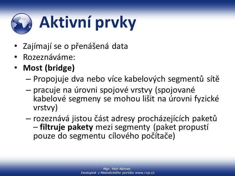 Aktivní prvky Zajímají se o přenášená data Rozeznáváme: Most (bridge)