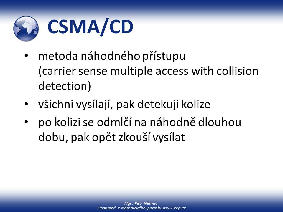 CSMA/CD metoda náhodného přístupu (carrier sense multiple access with collision detection) všichni vysílají, pak detekují kolize.