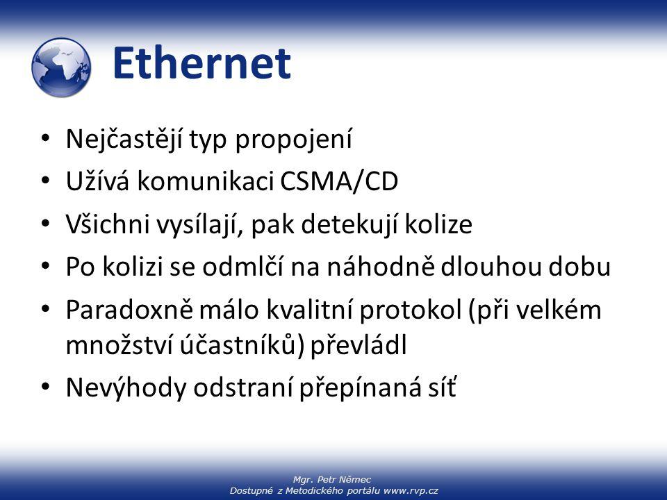 Ethernet Nejčastějí typ propojení Užívá komunikaci CSMA/CD