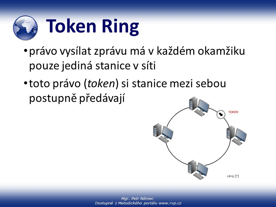 Token Ring právo vysílat zprávu má v každém okamžiku pouze jediná stanice v síti. toto právo (token) si stanice mezi sebou postupně předávají.