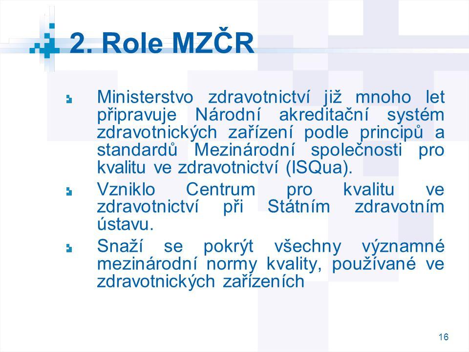 2. Role MZČR