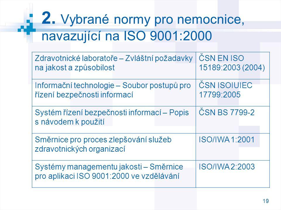 2. Vybrané normy pro nemocnice, navazující na ISO 9001:2000