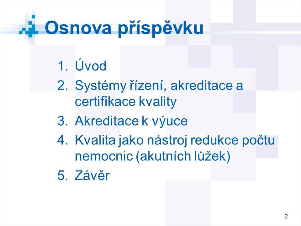 Osnova příspěvku Úvod Systémy řízení, akreditace a certifikace kvality