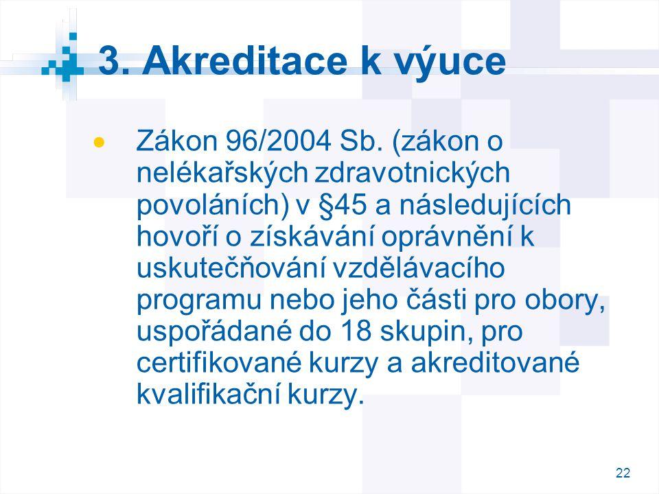 3. Akreditace k výuce