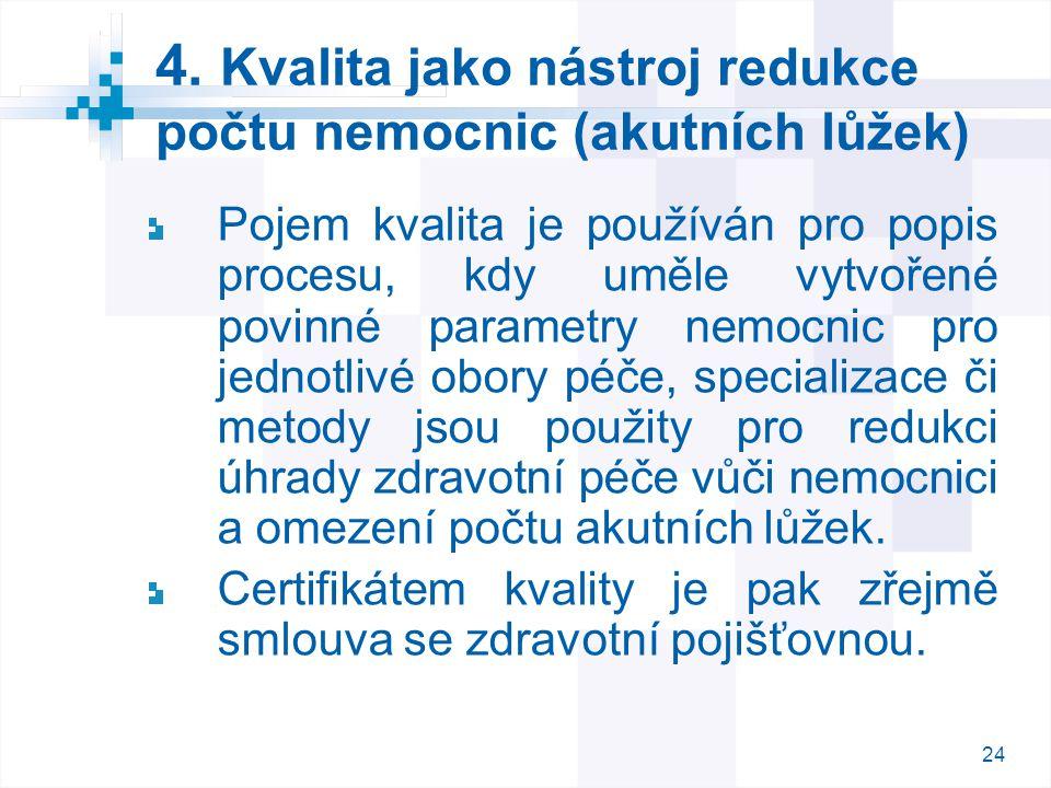 4. Kvalita jako nástroj redukce počtu nemocnic (akutních lůžek)