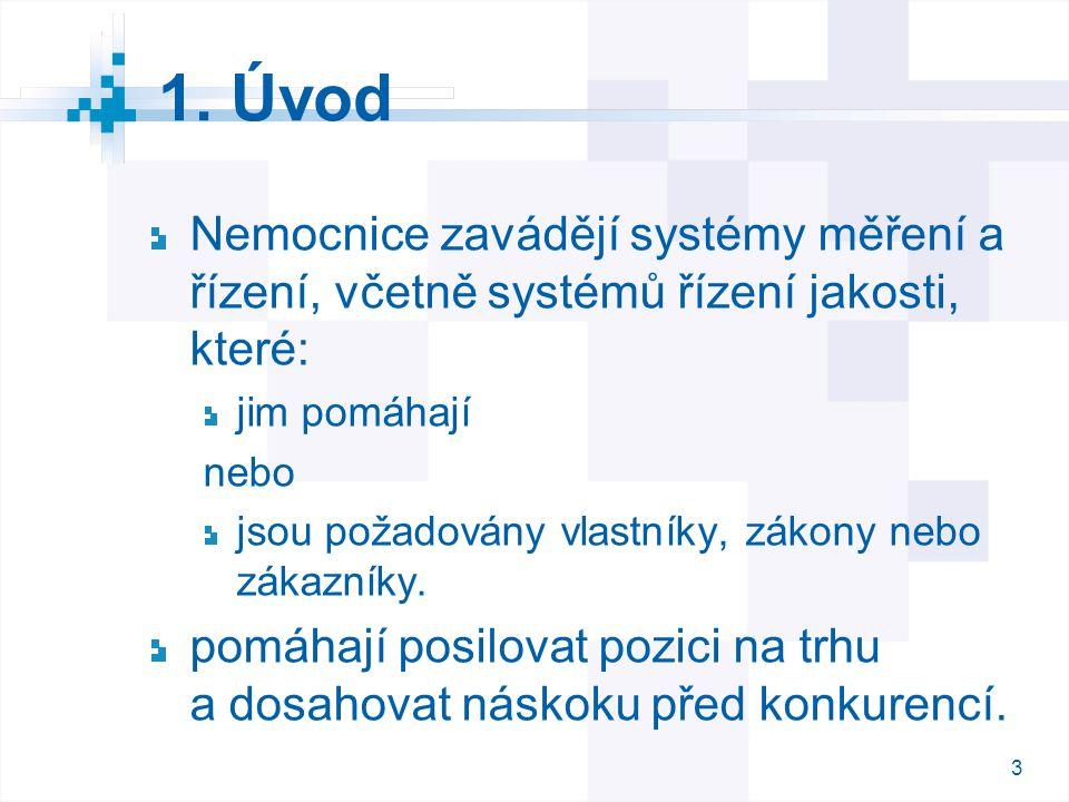 1. Úvod Nemocnice zavádějí systémy měření a řízení, včetně systémů řízení jakosti, které: jim pomáhají.