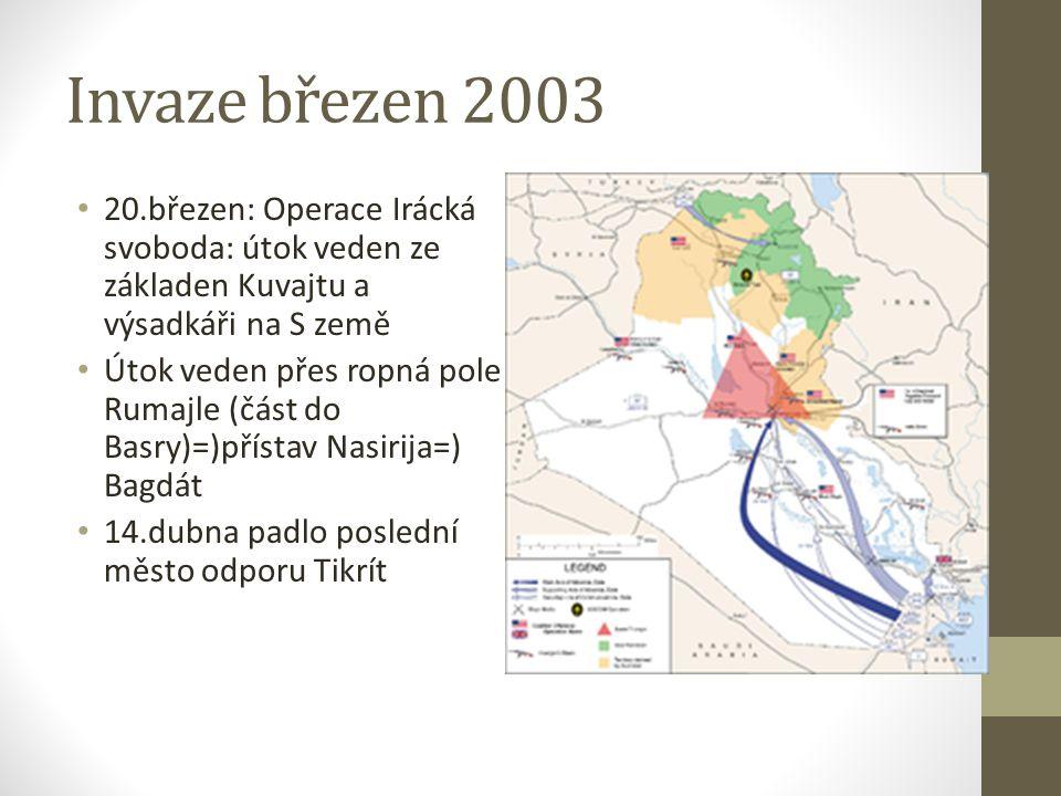 Invaze březen 2003 20.březen: Operace Irácká svoboda: útok veden ze základen Kuvajtu a výsadkáři na S země.