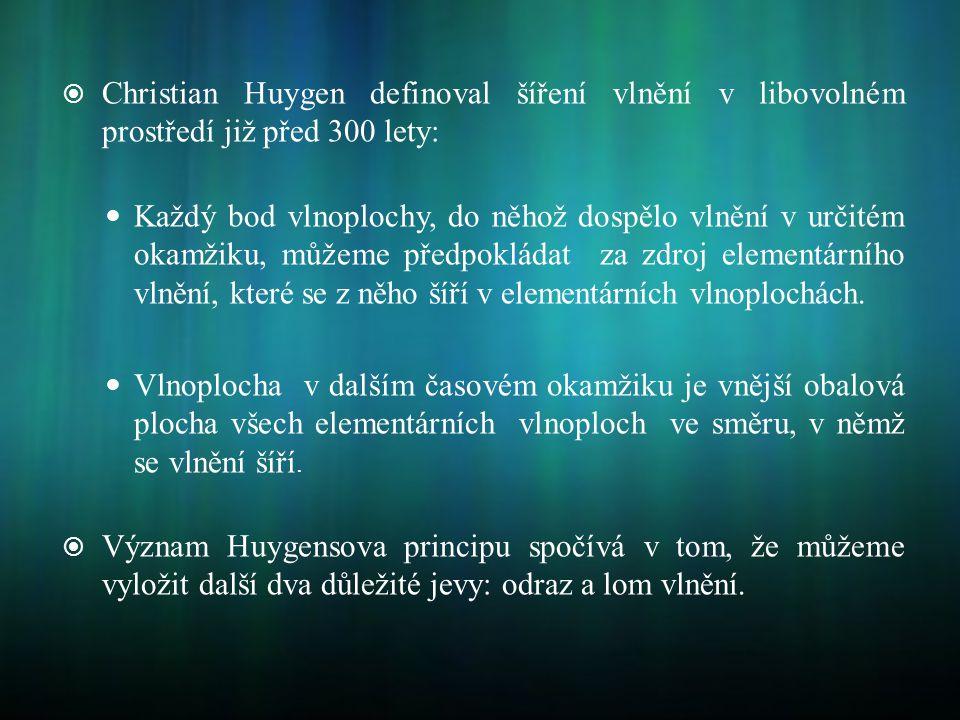 Christian Huygen definoval šíření vlnění v libovolném prostředí již před 300 lety: