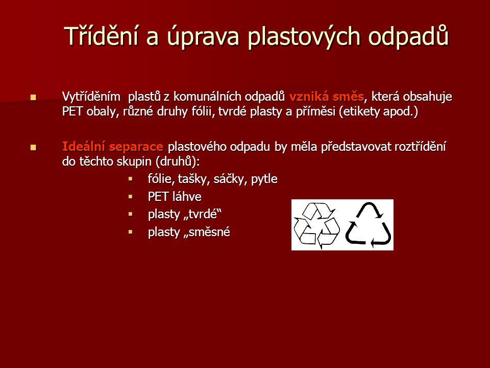 Třídění a úprava plastových odpadů