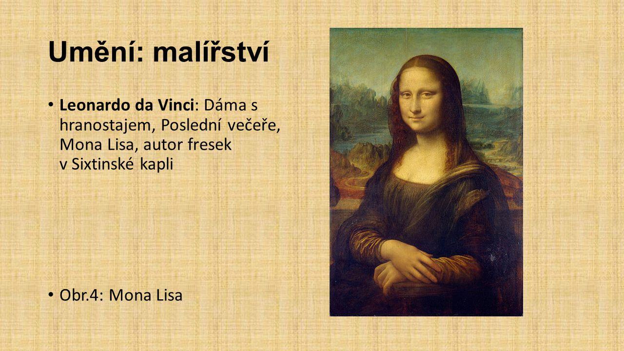 Umění: malířství Leonardo da Vinci: Dáma s hranostajem, Poslední večeře, Mona Lisa, autor fresek v Sixtinské kapli.