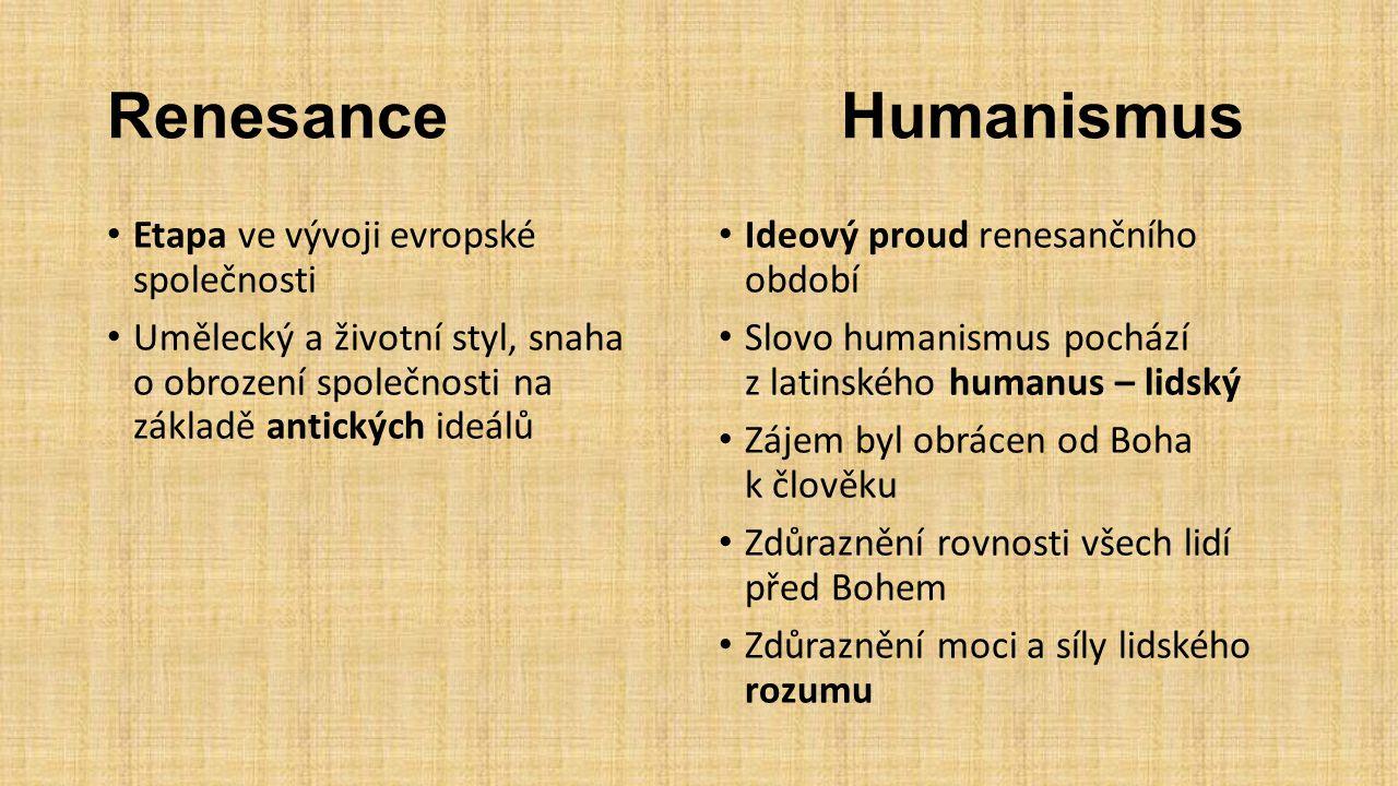 Renesance Humanismus Etapa ve vývoji evropské společnosti
