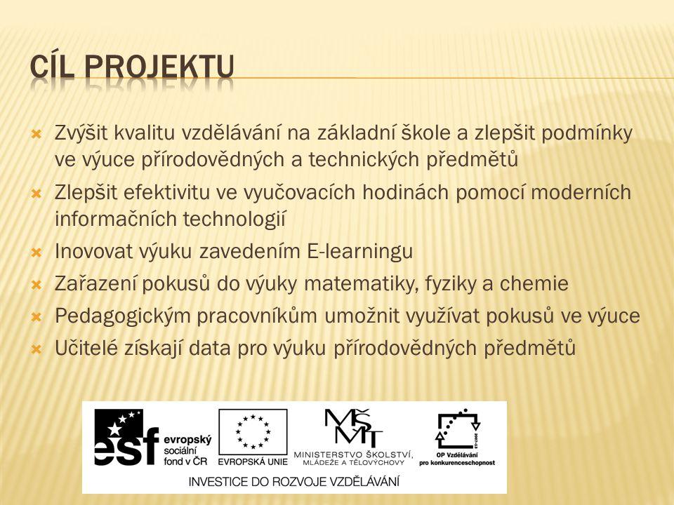Cíl projektu Zvýšit kvalitu vzdělávání na základní škole a zlepšit podmínky ve výuce přírodovědných a technických předmětů.