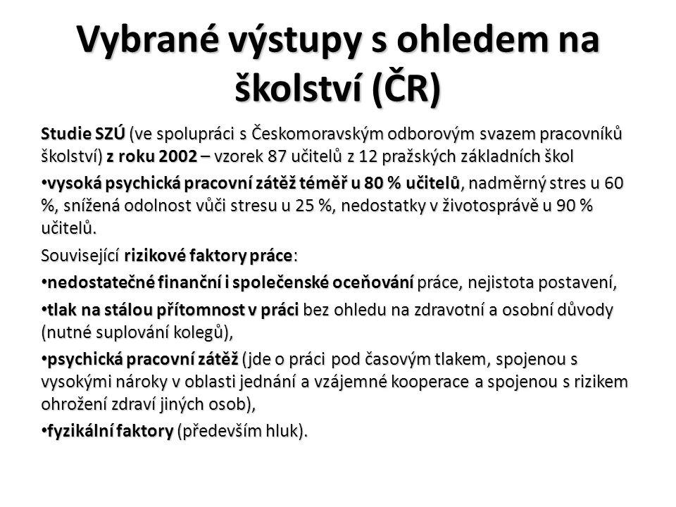 Vybrané výstupy s ohledem na školství (ČR)