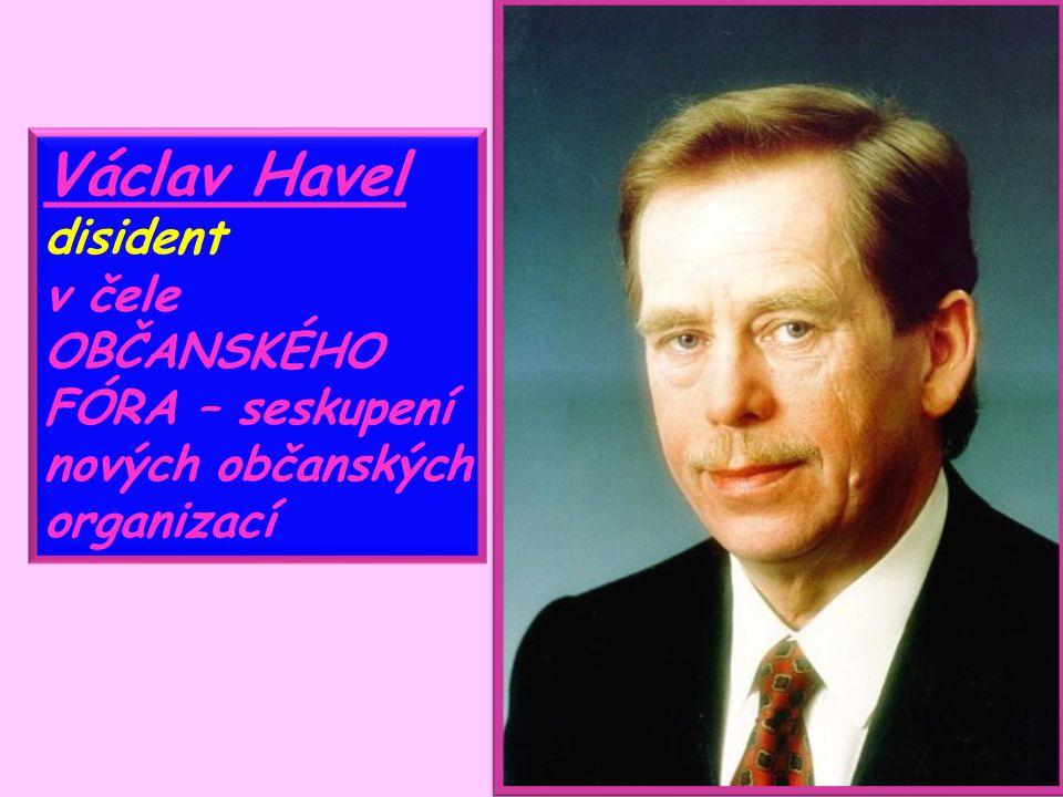 Václav Havel disident v čele OBČANSKÉHO FÓRA – seskupení nových občanských organizací