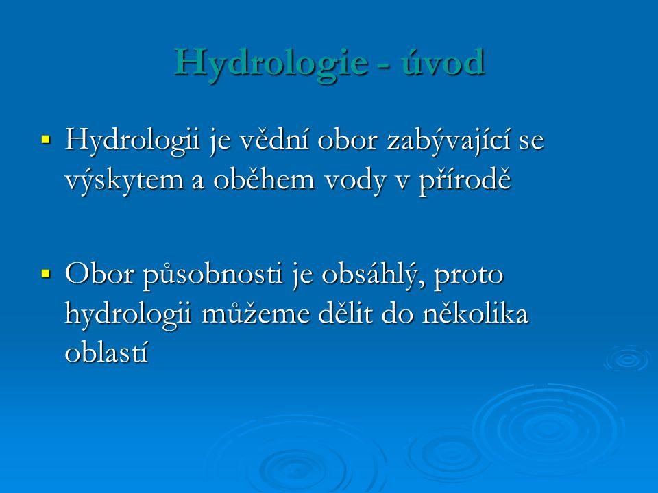 Hydrologie - úvod Hydrologii je vědní obor zabývající se výskytem a oběhem vody v přírodě.