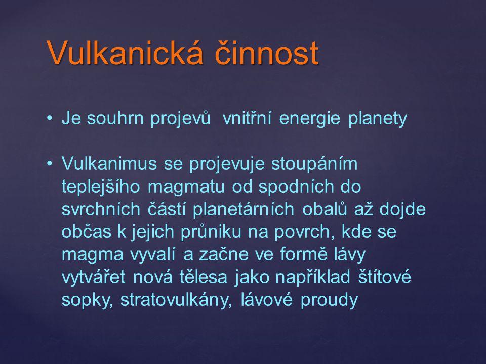 Vulkanická činnost Je souhrn projevů vnitřní energie planety