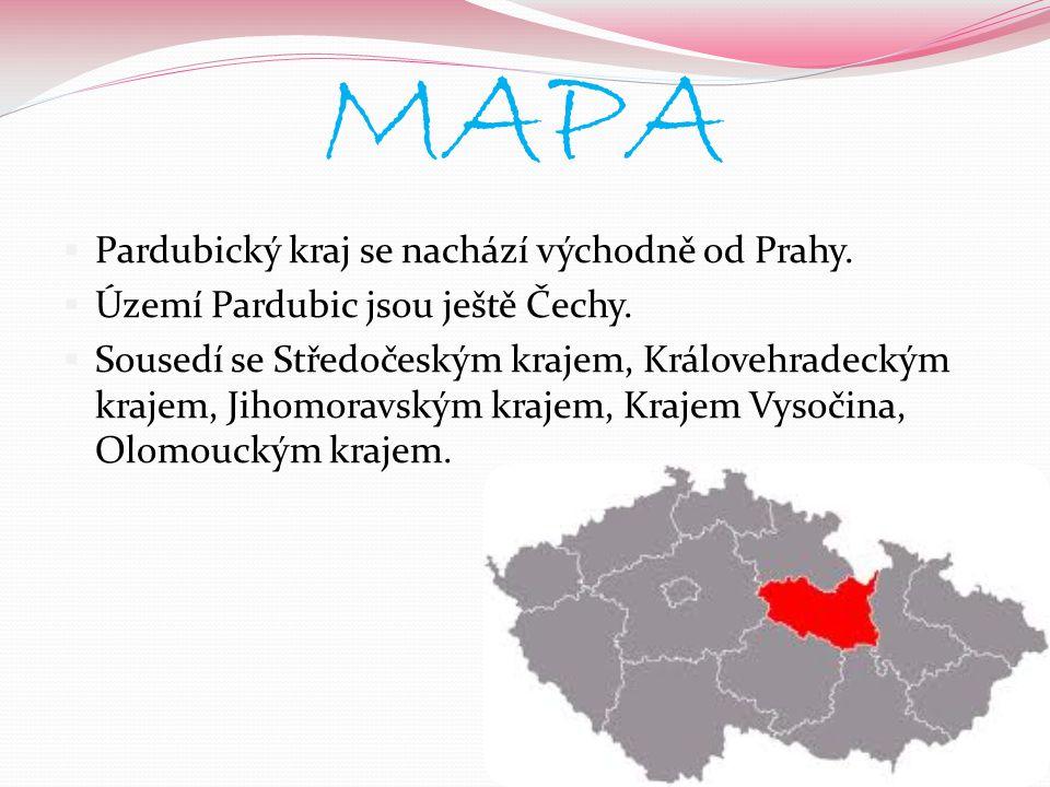 MAPA Pardubický kraj se nachází východně od Prahy.