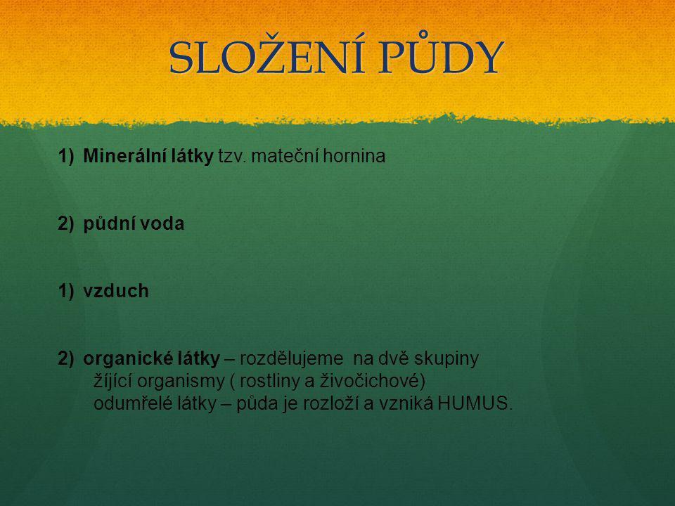 SLOŽENÍ PŮDY Minerální látky tzv. mateční hornina půdní voda vzduch