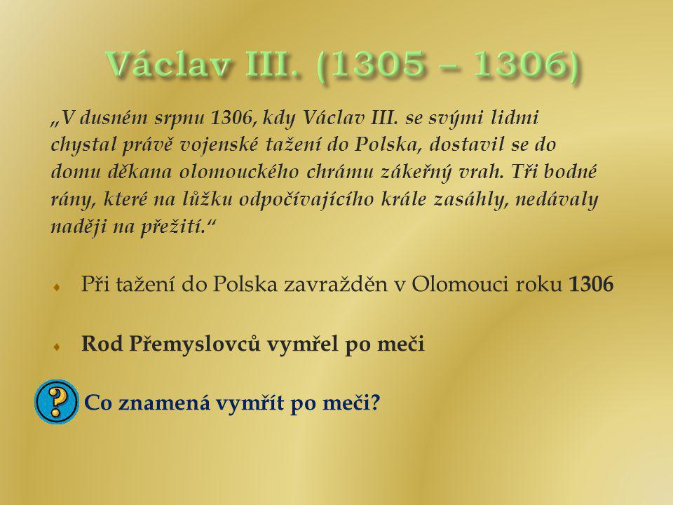 """Václav III. (1305 – 1306) """"V dusném srpnu 1306, kdy Václav III. se svými lidmi. chystal právě vojenské tažení do Polska, dostavil se do."""