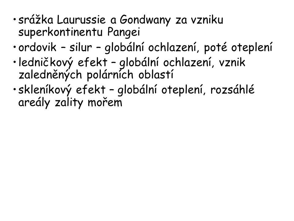 srážka Laurussie a Gondwany za vzniku superkontinentu Pangei