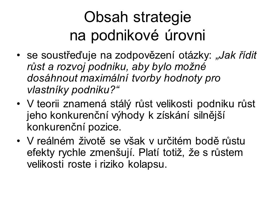 Obsah strategie na podnikové úrovni