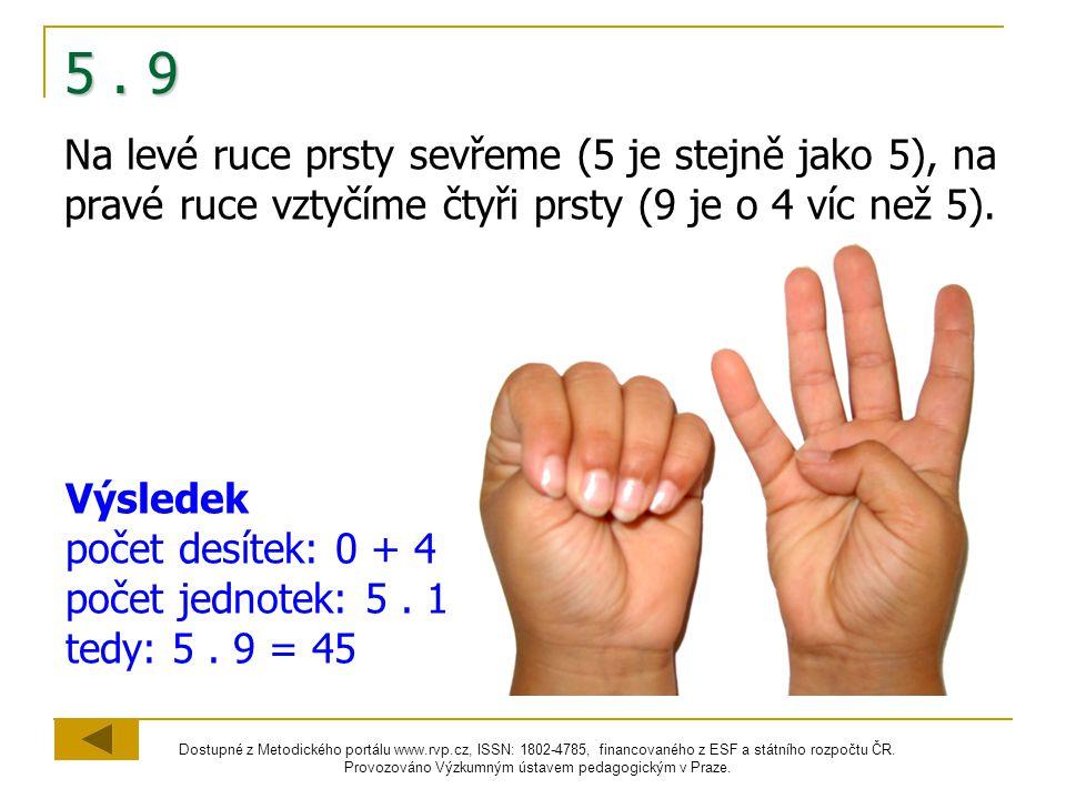 5 . 9 Na levé ruce prsty sevřeme (5 je stejně jako 5), na pravé ruce vztyčíme čtyři prsty (9 je o 4 víc než 5).