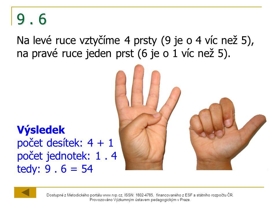 9 . 6 Na levé ruce vztyčíme 4 prsty (9 je o 4 víc než 5), na pravé ruce jeden prst (6 je o 1 víc než 5).