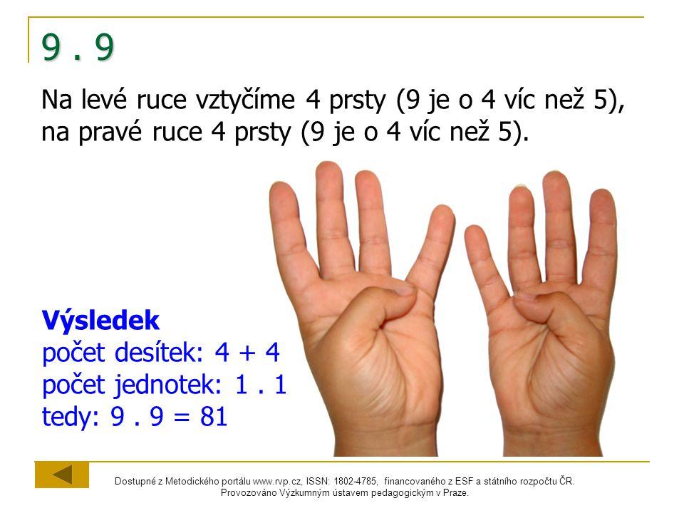 9 . 9 Na levé ruce vztyčíme 4 prsty (9 je o 4 víc než 5), na pravé ruce 4 prsty (9 je o 4 víc než 5).