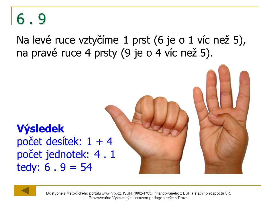 6 . 9 Na levé ruce vztyčíme 1 prst (6 je o 1 víc než 5), na pravé ruce 4 prsty (9 je o 4 víc než 5).