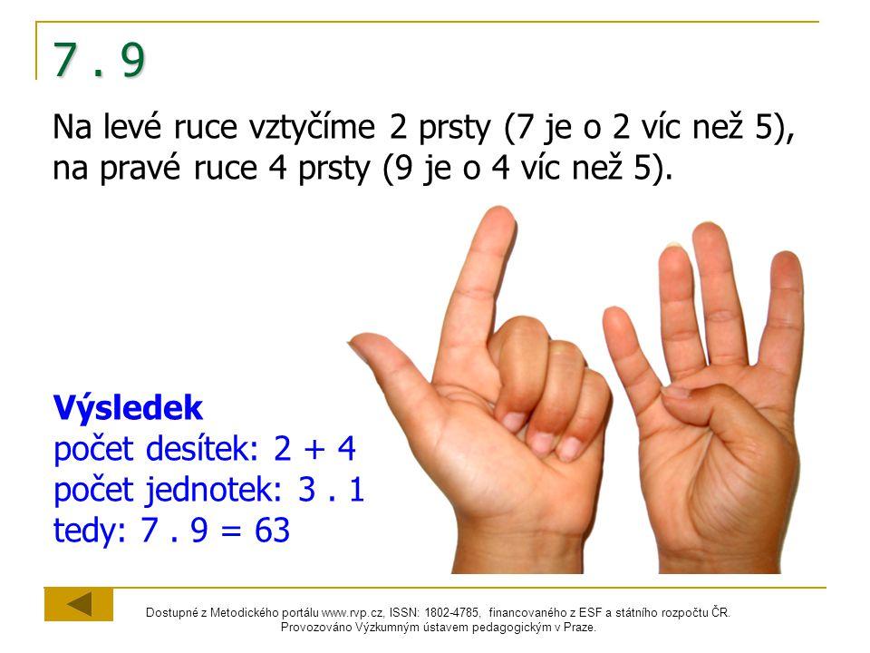 7 . 9 Na levé ruce vztyčíme 2 prsty (7 je o 2 víc než 5), na pravé ruce 4 prsty (9 je o 4 víc než 5).