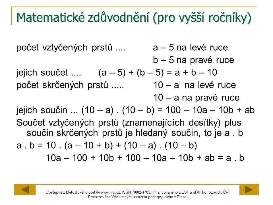 Matematické zdůvodnění (pro vyšší ročníky)
