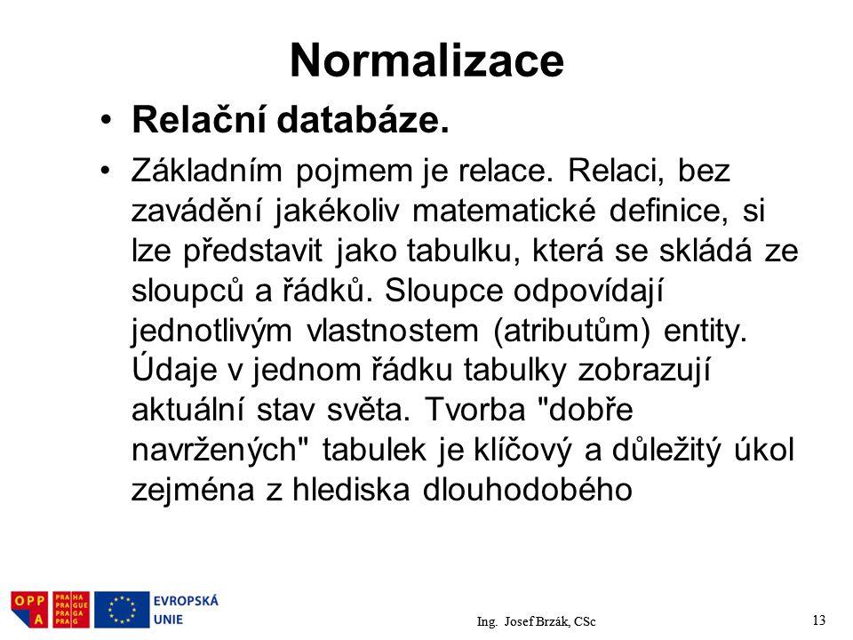 Normalizace Relační databáze.