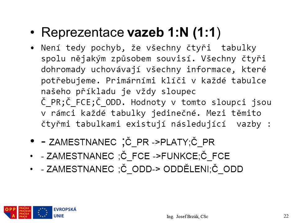 Reprezentace vazeb 1:N (1:1)