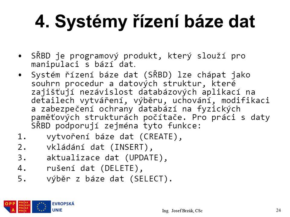 4. Systémy řízení báze dat
