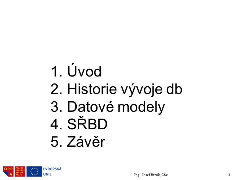 1. Úvod 2. Historie vývoje db 3. Datové modely 4. SŘBD 5. Závěr