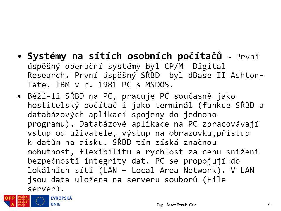 Systémy na sítích osobních počítačů - První úspěšný operační systémy byl CP/M Digital Research. První úspěšný SŘBD byl dBase II Ashton-Tate. IBM v r. 1981 PC s MSDOS.