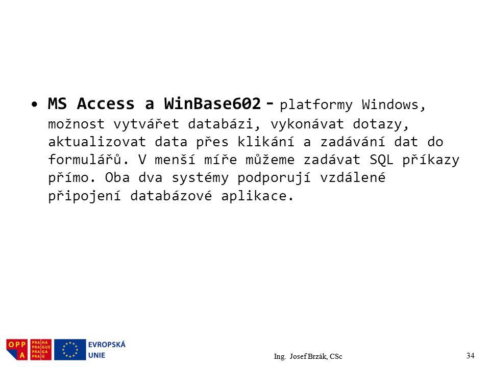 MS Access a WinBase602 - platformy Windows, možnost vytvářet databázi, vykonávat dotazy, aktualizovat data přes klikání a zadávání dat do formulářů. V menší míře můžeme zadávat SQL příkazy přímo. Oba dva systémy podporují vzdálené připojení databázové aplikace.