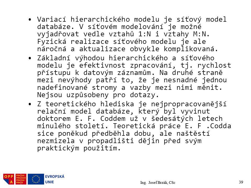 Variací hierarchického modelu je síťový model databáze