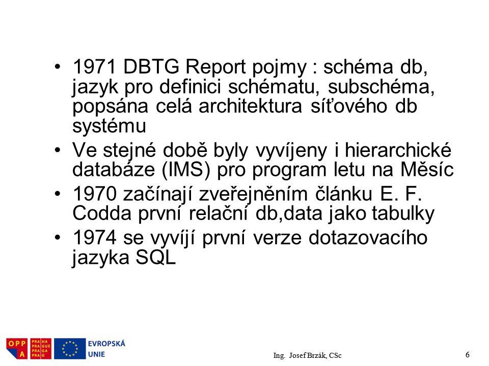 1974 se vyvíjí první verze dotazovacího jazyka SQL
