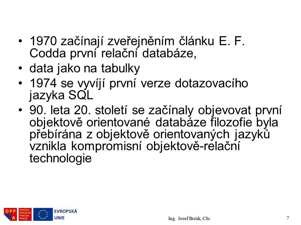 1970 začínají zveřejněním článku E. F. Codda první relační databáze,