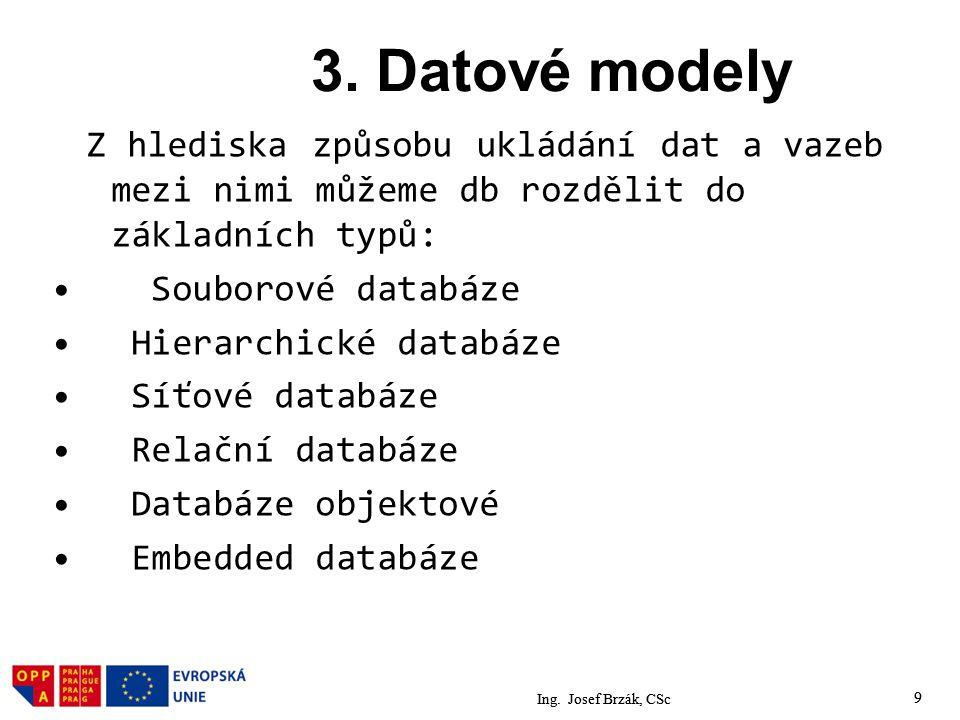 3. Datové modely Z hlediska způsobu ukládání dat a vazeb mezi nimi můžeme db rozdělit do základních typů: