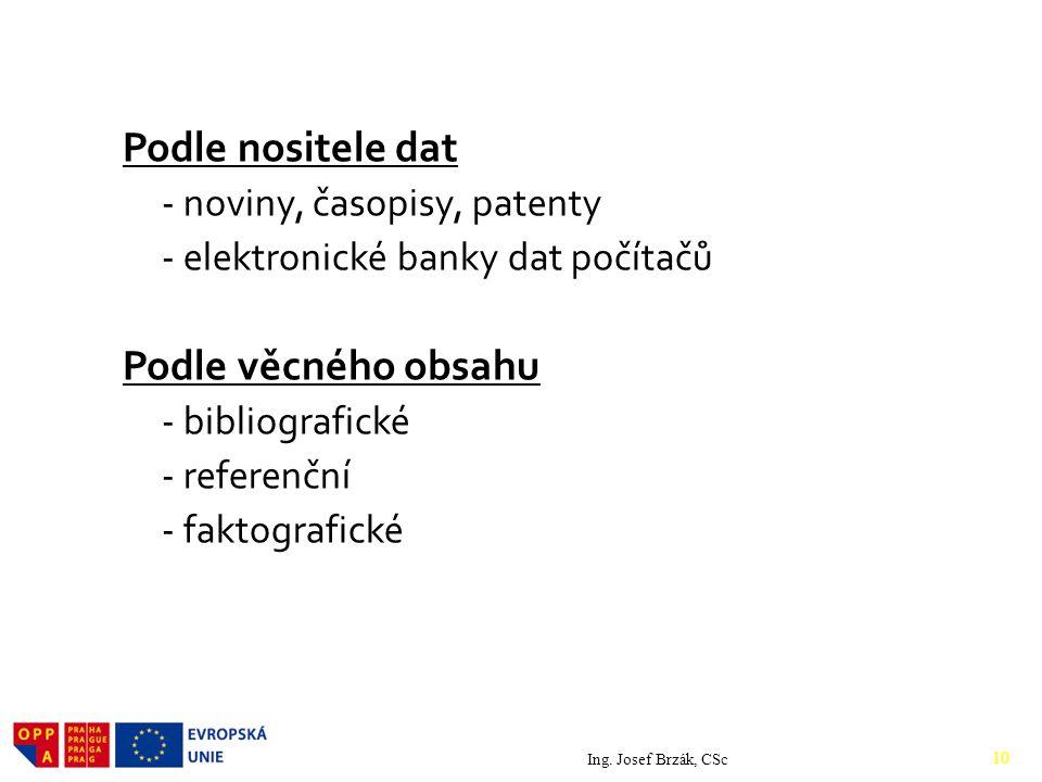 Podle nositele dat Podle věcného obsahu - noviny, časopisy, patenty
