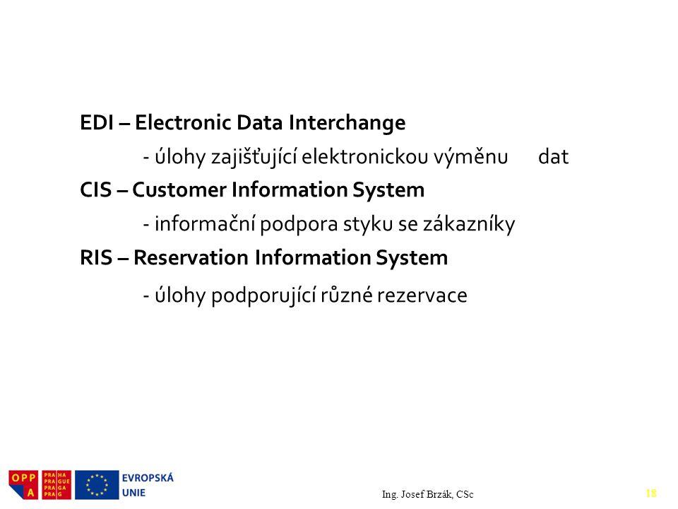 EDI – Electronic Data Interchange - úlohy zajišťující elektronickou výměnu dat CIS – Customer Information System - informační podpora styku se zákazníky RIS – Reservation Information System - úlohy podporující různé rezervace